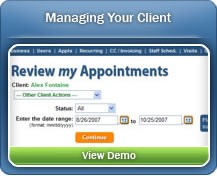 Review appointment history and schedule new appointments when you Manage Your Client