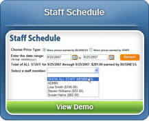 Easily review your pet sitter's schedule in a customizable time period through the Staff Schedule
